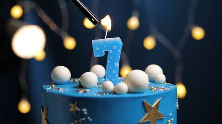 Wondrous Birthday Cake Number 7 Stars Sky And Moon Concept Blue Candle Personalised Birthday Cards Cominlily Jamesorg