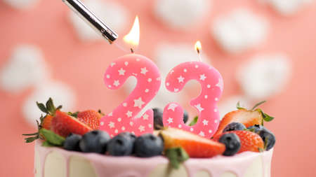 Birthday cake number 23, pink candle on beautiful cake with berries and lighter with fire against background of white clouds and pink sky. Close-up