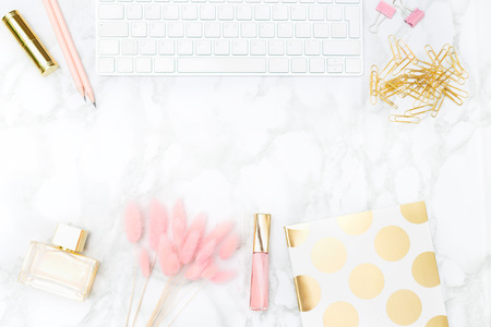Gold and blush office  feminine. stock photo. Copy space