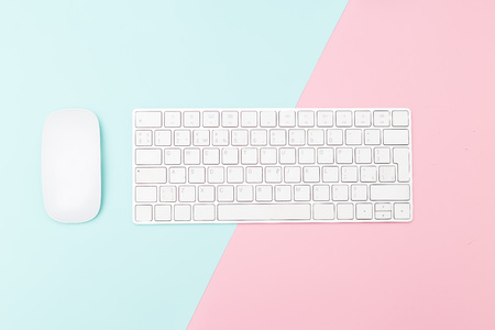 Keyboard and Mouse on two tone pastel background. Minimalist design.
