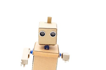 Robot with hands on a white background. Artificial Intelligence Фото со стока