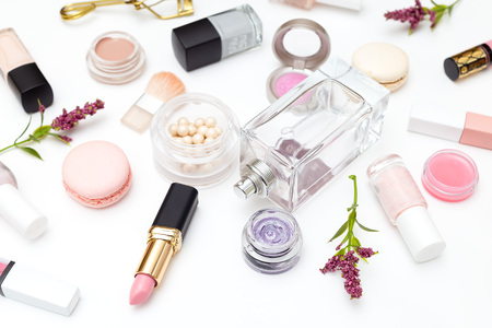 Perfume and cosmetics set on a white background. Beauty Stock Photo