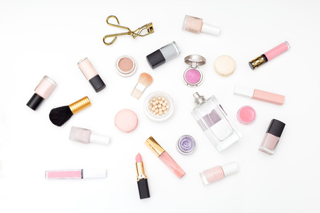 Set of decorative cosmetics on a light background. Flat lay Stock Photo
