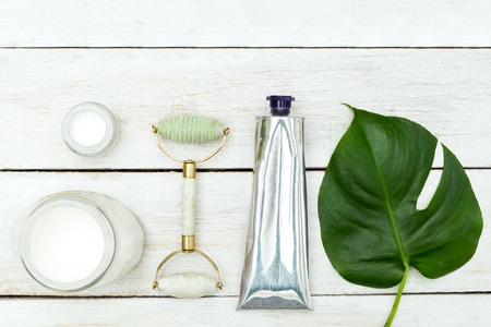 Zero waste. Beauty products on wooden background
