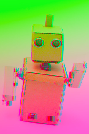 Cardboard robot and glitch effect. Duoton