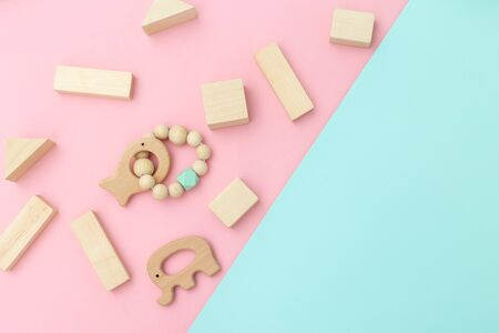 Wooden baby toys. Zero waste