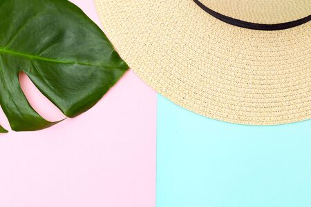 Tropical leaf and  straw hat on pastels color background. Copy space