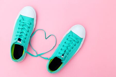 Fashion Trendy sneakers with Heart. Punchy Pastel Color. Minimal Style.