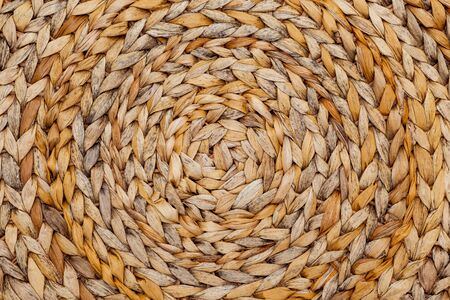 Rattan texture, circle. Pattern Stock Photo