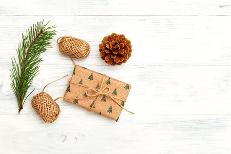 Christmas accessories on wooden background. Copy space