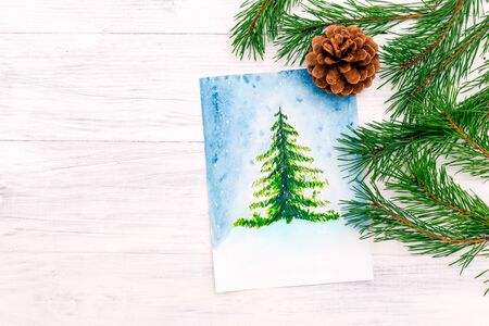 Watercolor  Christmas trees. Copy space