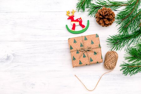 Christmas decorations on white wooden background. Copy space