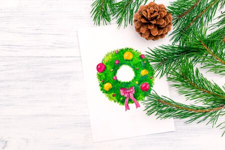 Watercolor drawing wreath Christmas. Christmas card