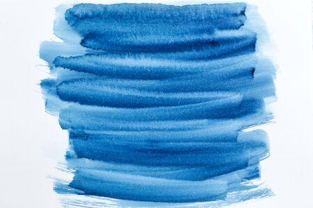 Watercolor background. Paint strokes indigo