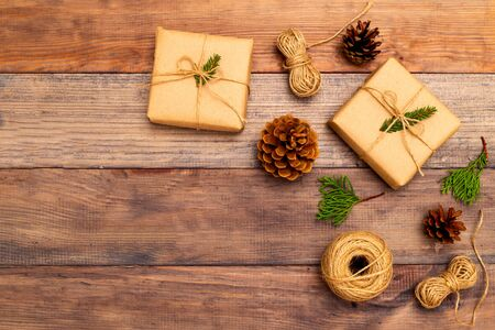 Christmas  craft accessories on wooden background. Copy space