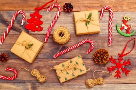Christmas composition on brown wooden background. Christmas background 写真素材