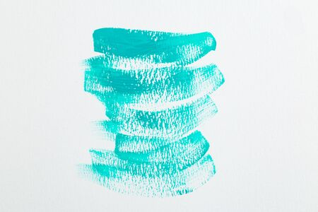 Neon mint color  watercolor paint strokes. Watercolor background. White background 写真素材
