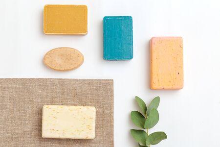 Soap natural ingredien and eucalyptus. Minimalist lifestyle. Isometric Imagens
