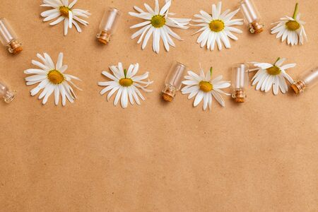 Chamomile flowers and glass jars on craft paper. Copy space. Madern apothecary. Healthy lifestyle