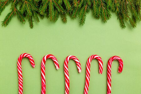 Christmas candy and green spruce branches on green backgroun. Copy space Imagens