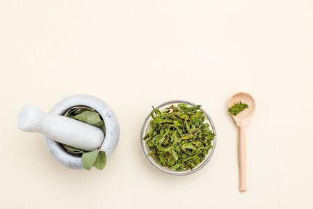 Dried herbs and face roller.  Sustainable lifestyle. Copy space Imagens