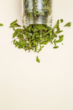 Dry green mint in a glass jar on a linen background. Healthy lifestyle. Vertical. Copy space