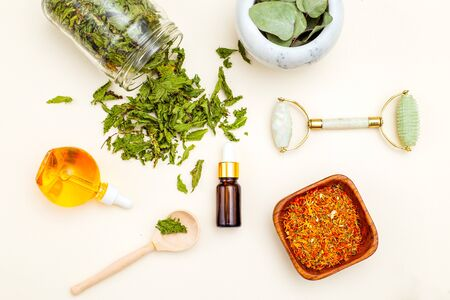 Dried herbs. Organic skin care. Sustainable lifestyle.  Healthy lifestyle