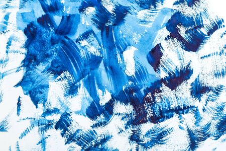 Blue  paint strokes. Color 2020.  background. Abstraction