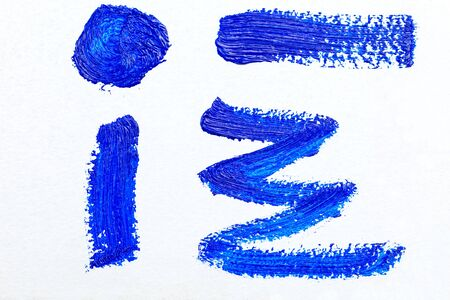 Set of blue paint strokes for your design. Blue color 2020. Oil paint strokes on white background. Art background. Imagens