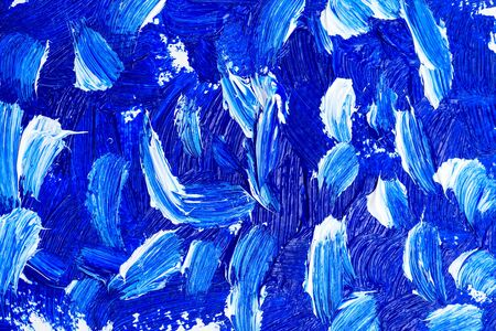 Blue color 2020.  Blue and white Oil paint strokes. Art background. Imagens