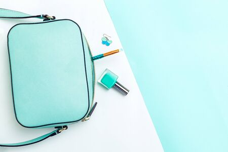 Beauty and fashion minty hue color. Color 2020. Copy space