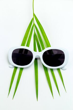 Palm leaf and white sunglasses on white background. Travel concept.  Vertical Imagens