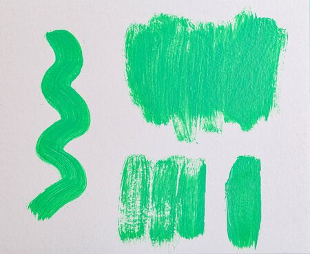 Aqua Menthe color 2020. Green paint strokes. Set of green paint strokes for your design. Oil paint strokes on white background. Art background. Imagens