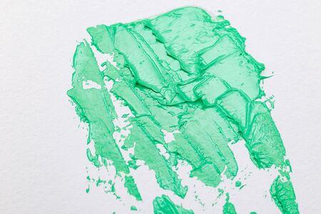 Aqua Menthe color 2020. Green paint strokes. Texture Imagens