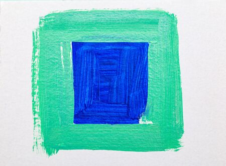 Aqua Menthe and  Classia blue square. Color 2020. Abstraction. Paint strokes. Art background