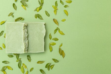Natural soap of green color with eucalyptus leaves on a green background. monochrome. Copy space