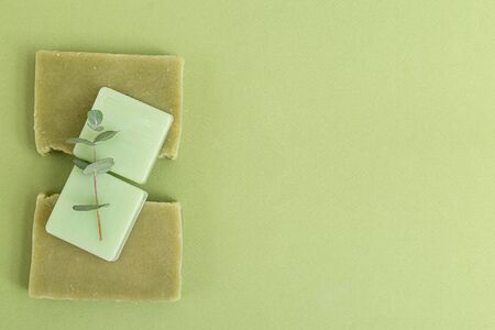 Eucalyptus and natural soap. Organic skin care. Green monochrome. Minimalism. Copy space