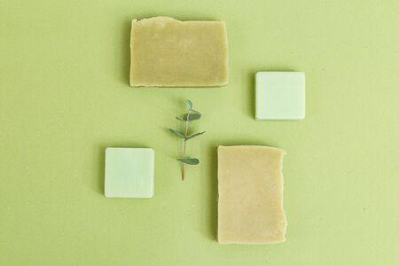 Organic skin care. Green monochrome. Minimalism. Flat lay