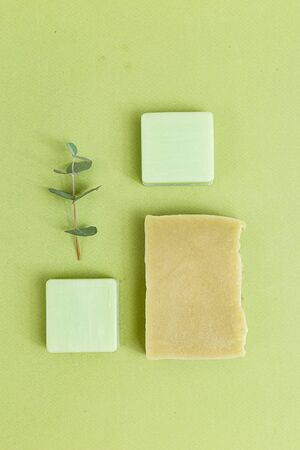 Organic skin care. Green monochrome. Minimalism. Vertical format 스톡 콘텐츠