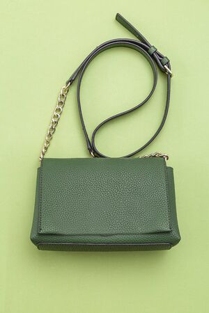 Handbag green color on green background.  Monochrome. Vertical format. Feminine accessories Imagens
