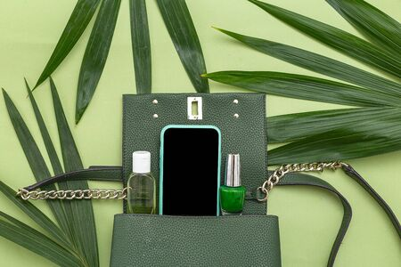 Handbag, phone, nail polish and natural leaves on green background. Monochrome. Top view 스톡 콘텐츠 - 148706047