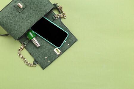 Handbag, phone, nail polish on green background. Monochrome. Minimal. Copy space 스톡 콘텐츠