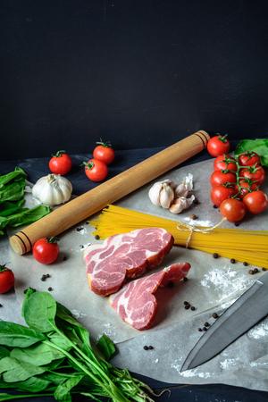 Cooking pasta carbonara, kitchen, recipe