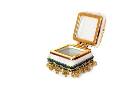 Jewelry Casket. Jewelry casket on a white background. An open casket