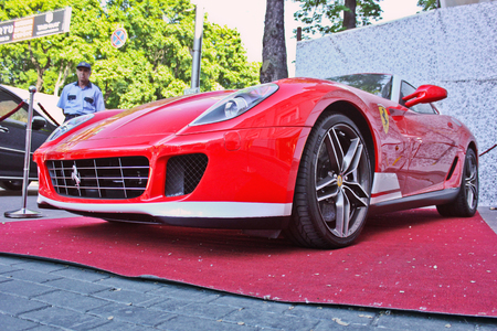 Kiev, Ukraine, July 13, 2015. Ferrari 599 Alonso Edition 60F1. Car. Karbon. headlights. Luxurious. Tuning. Supercar. Editorial photo. Editorial
