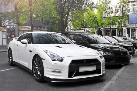 May 9, 2013. White Nissan GT-R. Parking on Kiev. Japanese Supercar. Editorial photo.