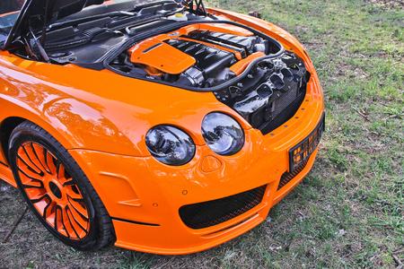 Kiev, Ukraine, April 20, 2015. Bentley Continental GT Mansory. Bentley car with an open hood. Editorial