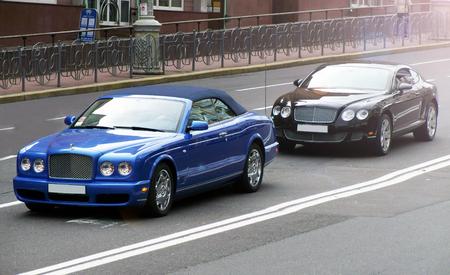 Kiev, Ukraine. June 17, 2010. Supercar Combo. Bentley Azure & Bentley Continental GT. Luxury cabriolet. Editorial photo.