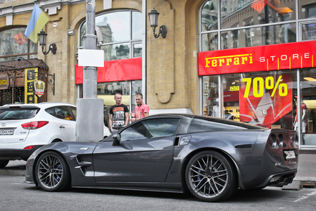 Kiev, Ukraine; April 3, 2014; Chevrolet Corvette ZR1 Near Ferrari  Dealership.