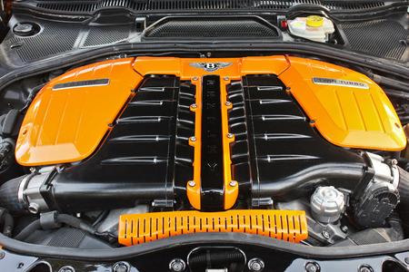 Kiev, Ukraine; April 10, 2015. Bentley engine. Bentley Continental GT Race Mansory. Editorial photo.